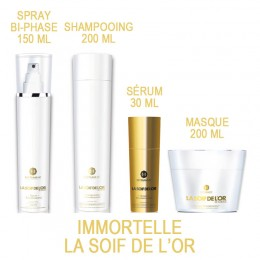 Immortelle GOLD 18K la soif de l'or Pack shampooing, masque, sérum et spray reconstructeur Myriam k