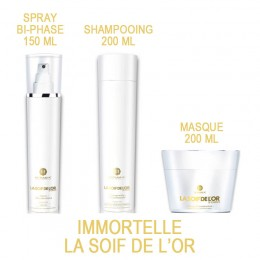 Immortelle GOLD 18K la soif de l'or Pack shampooing, masque et spray reconstructeur Myriam k